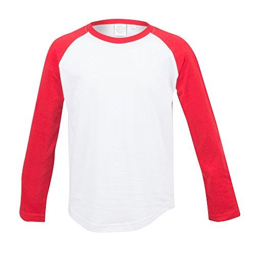 Skinni Minni Kinder Langarm Baseball T-Shirt (11-12 Jahre (152)) (Weiß/Rot)