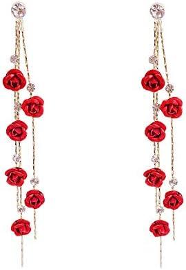 Red Rose Tassel Long Drop Earring 3D Rose Flower Drop Earrings CZ Crystal Rhinestone Rose Fashion Statement Dangle Earrings Purple Flower Tassel Earring Jewelry Bar Party Gifts for Women Girls