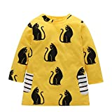 Digirlsor Toddler Baby Girls Fall Winter Cotton Dress Kids Cartoon A-line Princess Dress Pullover Clothes, Yellow, 2-3 years/ Tag100