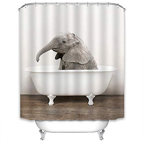 Xlabor Premium Tier Duschvorhang Wasserdicht Anti-Schimmel Stoff inkl. 12 Duschvorhangringe für Badezimmer Elefant 180x200cm