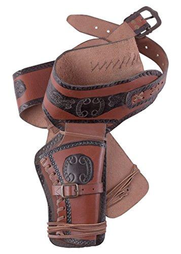 Battle-Merchant Westernholster aus Leder Revolvergürtel Revolver mit Zwei Holster Cowboy Western Pistolengürtel