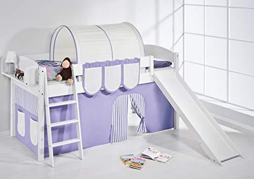 Lilokids Spielbett IDA 4105 Lila Beige-Teilbares Systemhochbett weiß-mit Rutsche und Vorhang Kinderbett, Holz, 208 x 220 x 113 cm