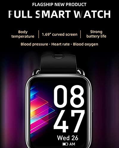 Smart Watch Fitness Tracker 1.7 pulgadas Fitness Tracker con ritmo cardíaco y monitor de sueño Rastreador de actividad con IP67 impermeable podómetro contador de pasos, negro