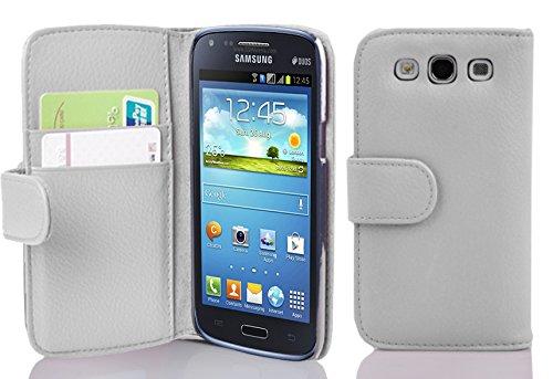 Cadorabo Funda Libro para Samsung Galaxy Core en Blanco MAGNESIO - Cubierta Proteccíon de Cuero Sintético Estructurado con Tarjetero y Función de Suporte - Etui Case Cover Carcasa