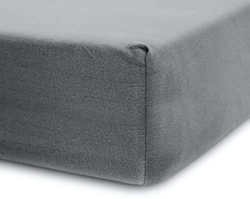 Lumaland Luxury Jersey Spannbettlaken für Wasserbett und Boxspringbett 100 {01808795fc16b7416b1a9b3cbd6f8429fc82c58021fb63d90ec6fb552f354f00} Baumwolle mit Rundum-Gummizug 140-160 x 200-220 cm Hellgrau