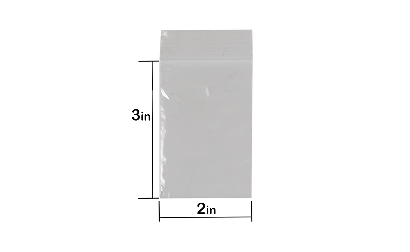 1000 Count Zipper Poly Bags (2 x 3) - 2mil