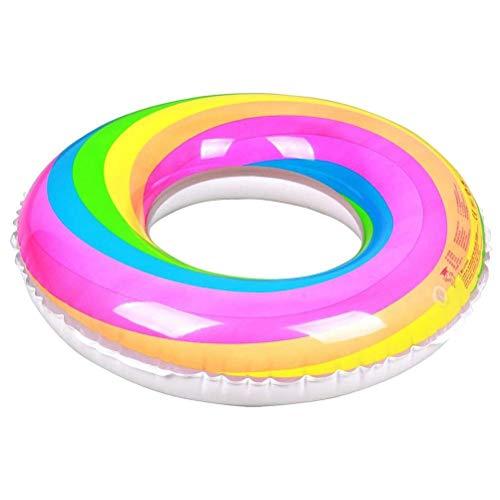Delaspe - Anillo de baño grueso arcoíris hinchable hinchable para piscina, juegos de agua, suministros para adultos y niños