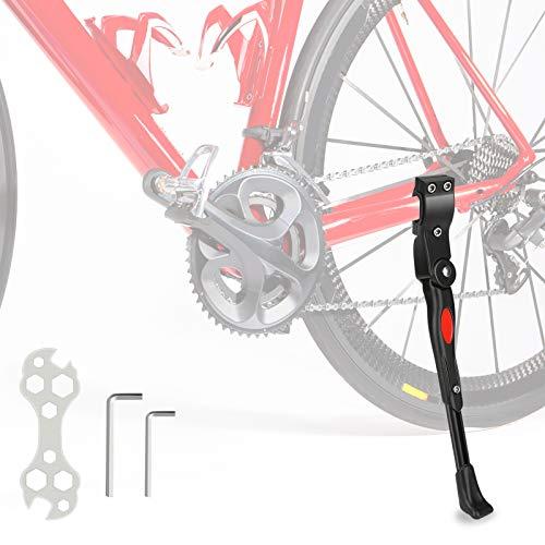 Fahrradständer, Verstellbarer Aluminium-Legierung MTB Fahrradständer mit Anti-Rutsch Gummi-Fuß, Universal Legierung Kick Stand für Mountainbike, Rennrad Fahrräder und Klapprad (Schwarz)