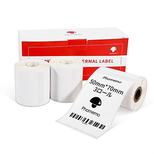 Phomemo M110対応 純正 感熱ロール紙 3巻 シール 値札 50mm*70mm 矩形タイプ 110枚入り/巻 3巻 感熱ラベルプリンター用 業務用ハンドラベラー 印刷用紙 接着剤ある 通常再剥離 宛名/DVDラベル/手書き/値札/アドレス/バーコ