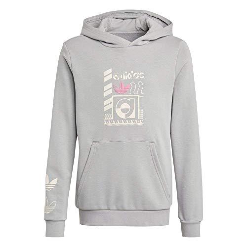 Adidas Hoodie Felpa con Cappuccio, Mgh Solid Grey, 12 Anni Bambino