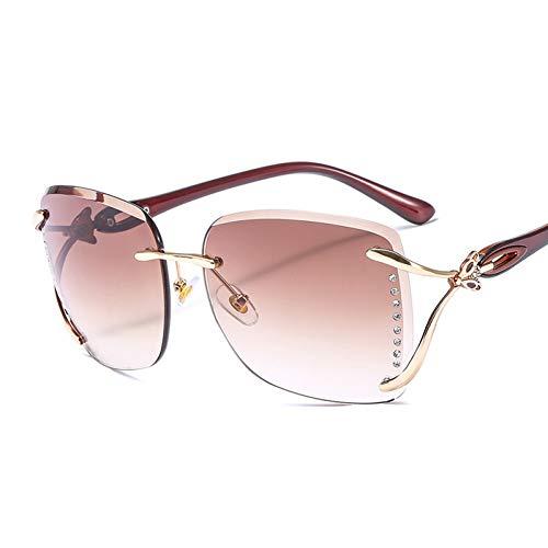 Taiyangcheng Polarisierte Sonnenbrille Quadratische übergroße Sonnenbrille Frauen mit Farbverlauf Sonnenbrille Lady Vintage Shades Randlose Oculos,braune Beine braun