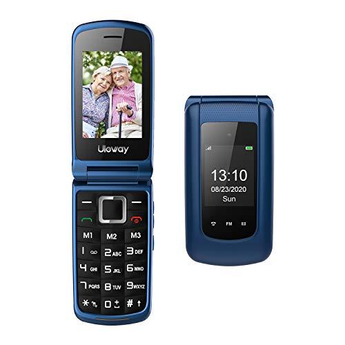Teléfono Móvil para Personas Mayores Teclas Grandes con Tapa Flip Senior Fácil de Usar Celular para Ancianos con SOS Botones, Pantalla de 2,4+1.77 Pulgadas