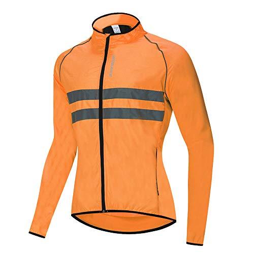 WOSAWE Hombres Ciclismo Chaquetas Impermeable Chaleco Ligero Motocicleta Viento Reflectante Abrigo Correr Montañismo Ropa Deportiva(215 Naranja XL)