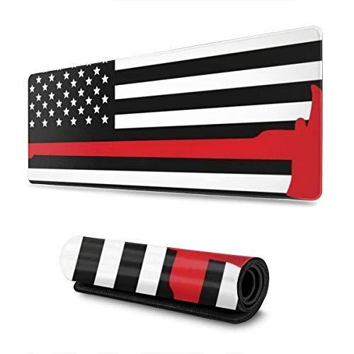 Alfombrilla para ratón con Bandera de línea roja para Bombero, Alfombrilla para Juegos, Alfombrilla para ratón con Base de Goma Antideslizante Gruesa para Trabajo y Juego, 11,8 x 31,5 Pulgadas