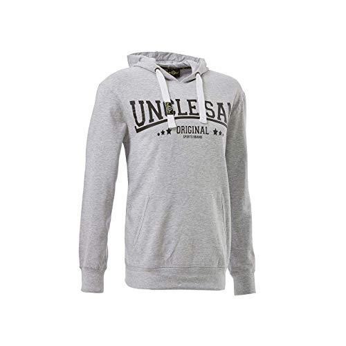 Uncle Sam | Herren Sweatshirt Hoody | Pulli mit Kangarooh-Tasche und Kapuze | SAM! (L, Grau)