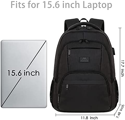 Laptop Backpack for Men, 15.6 Inch Water Resistant Padded Computer Bag with USB Charging Port for Business Travel Work, Durable Anti Theft College School Students Bookbag for Men Women Gifts, Black