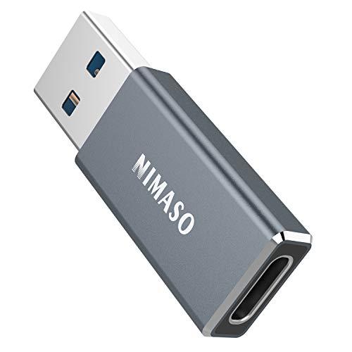 Nimaso USB Type C (メス) to USB A (オス) 変換アダプタ 両面USB3.0 5Gbps 高速データ転送 Quick Charger 3.0 対応 MacBook Pro/Air/iPad Pro 2019/Surface/Sony Xperia/Samsung 変換コネクタ(グレー)