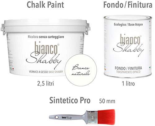 CHALK PAINT Bianco Naturale & FINITURA + PENNELLO - Pittura Shabby Chic EXTRA OPACA (2,5 Litri) + Finitura Trasparente Opaco (1 Litro) + 1 Pennello Pro 50 mm