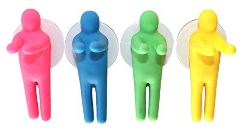 VANVENE Lucore Colorful People Toothbrush Holder and Utility Suction Hook, Set of 4 Pcs