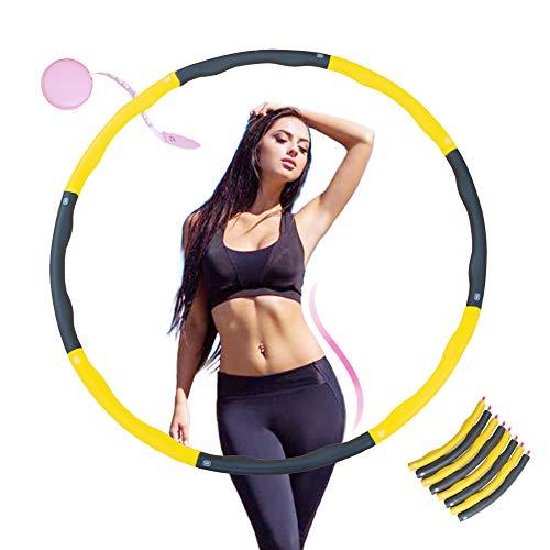 KALINCO Fitness Reifen Hula Hoop Reifen zur Gewichtsreduktion Hoola Hup Reifen mit Mini Bandmaß (4 Knoten Gelb + Grau)