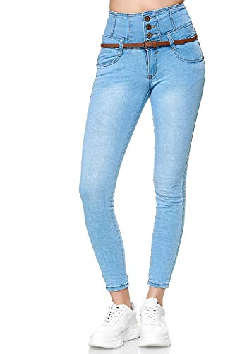 Elara Damen Jeans High Waist Push Up Skinny Fit Chunkyrayan 1577-3 Lt.Blue-40 (L)
