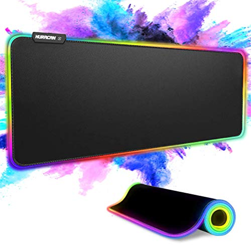 RGB Gaming Mouse Pad Large Big LED Extended Mouse Mat with 14 Lighting Modes, Non-Slip Rubber Base Waterproof Laptop Computer PC Games Keyboard XL Mouse Pads for Gaming Gamer, 31.5×11.8 inches