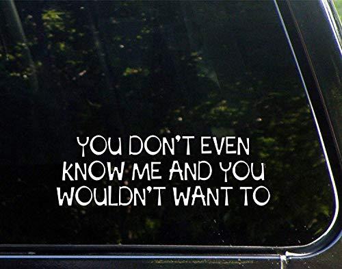 Auto Decals Grappig Je weet me niet eens en je zou niet willen Vinyl Bumper Sticker Decoratie voor Laptop Truck 23cm