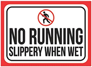 Aluminum Metal No Running Slippery When Wet Print Black Red White Picture Symbol Poster Business Office Public Safety