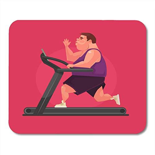 Mauspads Runner Sport Fat Man Charakter läuft schnell auf Laufband Flache Cartoon Übergewichtige Adipositas Mauspad für Notebooks, Desktop-Computer Mausmatten, Büromaterial
