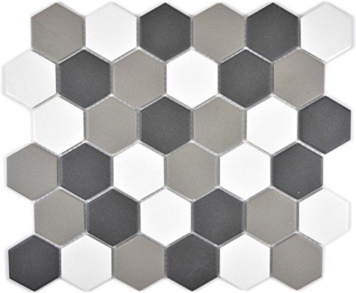 Mosaik Fliese Keramik Hexagon weiß grau schwarz unglasiert für BODEN WAND BAD WC DUSCHE KÜCHE FLIESENSPIEGEL THEKENVERKLEIDUNG BADEWANNENVERKLEIDUNG Mosaikmatte Mosaikplatte