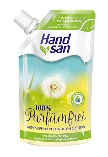 Handsan Cremeseife 100% PARFÜMFREI im Nachfüllbeutel 300 ml, 6er Vorratspack (6 x 300 ml)
