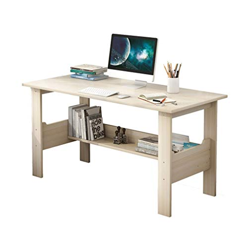 Modern Simple Desktop Computer Desk Bedroom Laptop Work Study Table Office Standing Desks Workstation Writing Home (39.4 x 17.7 x 28.3 inches) (White)