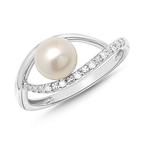 585er Weißgold-Ring mit Perle und Diamanten 0,054 ct.