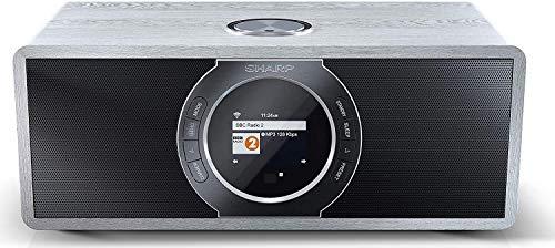SHARP Stereo Internetradio/DAB (DAB+ Digitalradio, Spotify, WiFi-Streaming, Bluetooth, DLNA, App-Steuerung, Farbdisplay, FM Radio, Alarm-/Schlaf und Snooze-Funktion, 30 Watt) grau DR-I470(GR) PRO