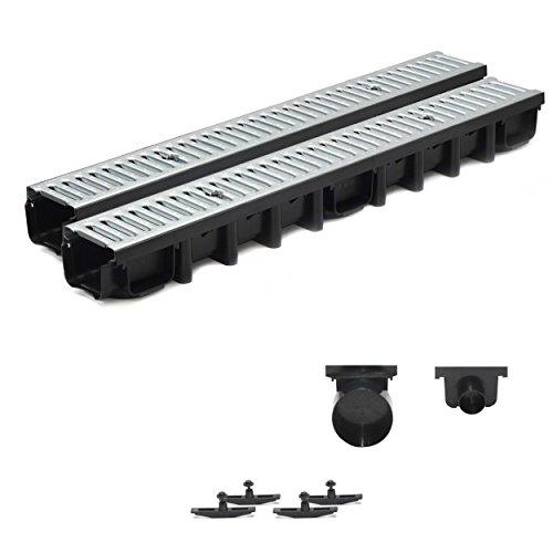 2m Entwässerungsrinne Terrassenrinne Stahlrost verzinkt komplett SET, System A15 98mm