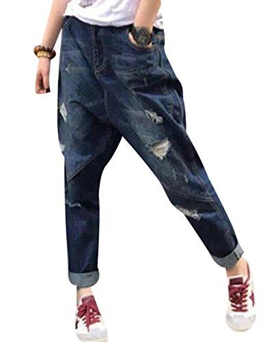 Youlee Damen Haremshose Gebrochenes Loch Jeans Mit Taschen