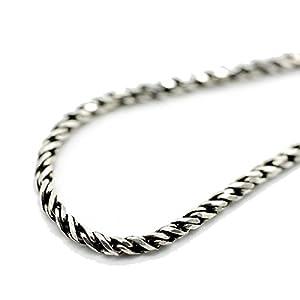 [シルバーワン] シルバー925 カットロープ ネックレス チェーン メンズ ge [幅2mm 長さ45cm] (燻し銀加工)