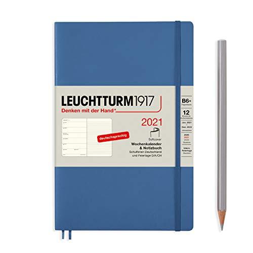 Preisvergleich Produktbild LEUCHTTURM1917 Wochenkalender & Notizbuch 2021 Softcover Paperback (B6),  12 Monate,  Denim,  Deutsch