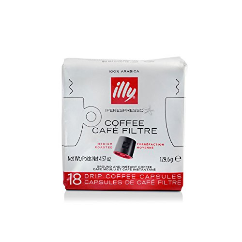 illy Coffee, iper Coffee Capsule, Medium Roast Drip Pod, 100% Arabica Bean Signature Italian Blend, Premium Gourmet Roast Brewed, Compatible with Multi Beverage illy iperEspresso Machines (18 ct)