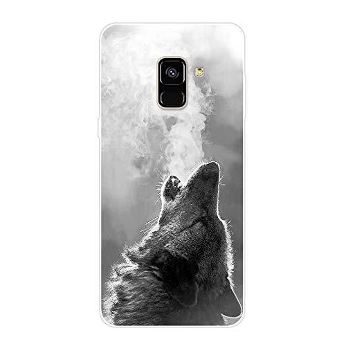 Urhause Kompatibel mit Galaxy A8 Plus 2018 Hülle TPU Silikon Bunt Schutzhülle,[Transparen Karikatur Silikonhülle] Hülle Gemalt,Ultra Slim Durchsichtig mit Muster Bumper Stoßfest Hülle,Wolf