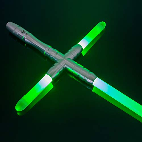 YDD Kylo Ren Replica Lightsaber Light Up Green Led Light Saber Force FX Metal Hilt for Adult (Silver hilt Green Blade)