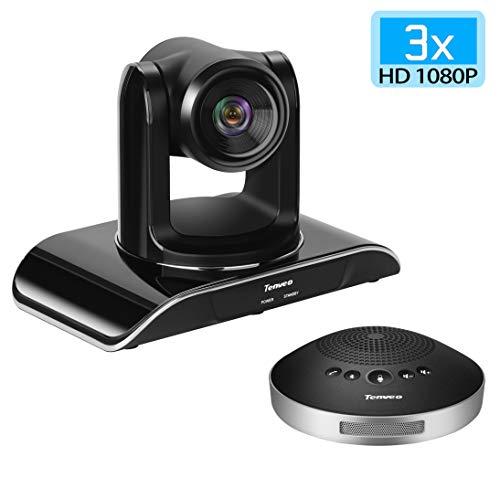 Tenveo All-in-one Professionelle Videokonferenzsystem, mit 3X Optischer Zoom 1080P Full HD Konferenzkamera und Bluetooth Mikrofon, für Live Streaming, Broadcasting, Business Meeting (VHD3U-Set)