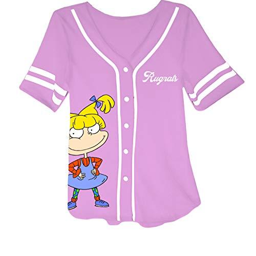 Nickelodeon Ladies 90's Fashion Shirt - Rugrats, Angelica and Chuckie Mesh Baseball Jersey (Light Pink, Medium)