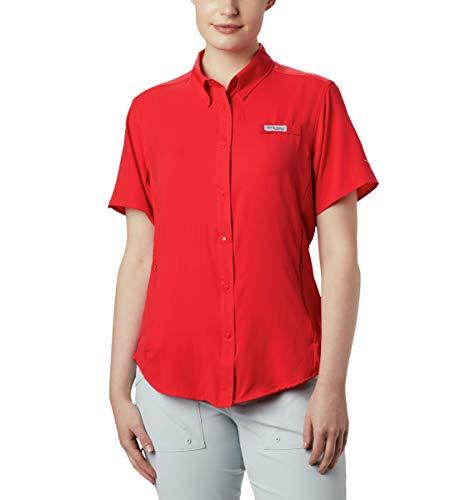Columbia Tamiami II Damen-Shirt, kurzärmelig, Damen, PFG Tamiami™ Ii Short Sleeve UPF 40 Wicking Fishing Shirt, Rote Lilie, 2X