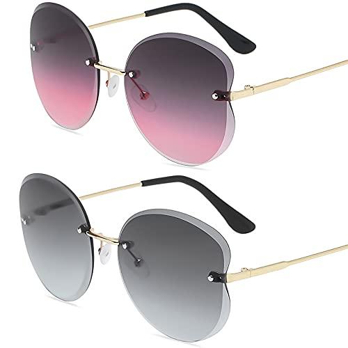 HFSKJ Pack de 2 Gafas de Sol, Gafas de Sol para niños Gafas con protección UV con Ribete Retro Poligonal Las Gafas sin Montura Son adecuadas para Hombres y Mujeres,B