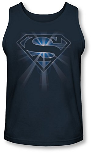 Superman - - Rougeoyant Bouclier Tank-Top pour hommes, Large, Navy