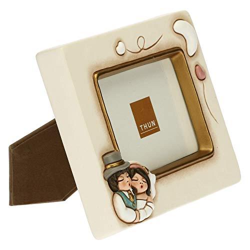 THUN - Cornice Portafoto da Tavolo con Sposini - Anniversario Matrimonio - Linea Cerimonia - Ceramica - Formato Foto 7 x 10,5 cm