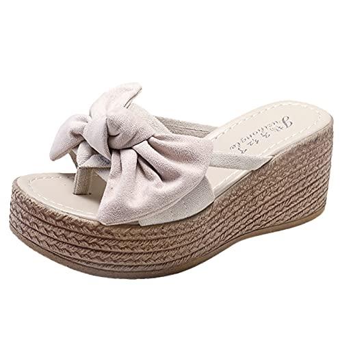 URIBAKY - Sandalias para mujer con cuña abierta, zapatos de playa con pajarita, zapatillas romanos, Beige (beige), 37 EU