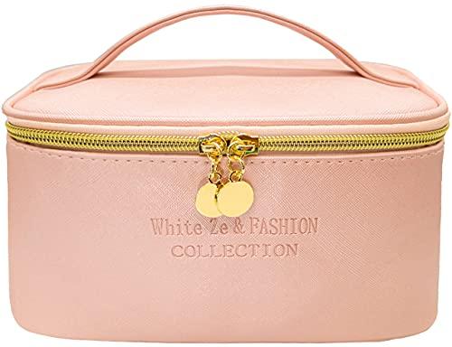 White Ze Reise-Make-up-Tasche, wasserdicht, Kulturbeutel, professionelle Make-up-Tasche, Kosmetiktasche für Frauen und Mädchen (Rosa)