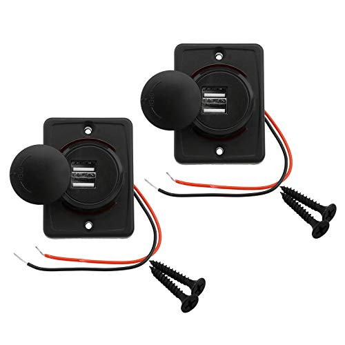 2 Stücke 3,1 A Auto Dual USB Stecker Rotes Kabel Ladegerät Buchse 2 Port Adapter 12 V-24 V Steckdose Lade Panel Mount Stecker mit 2 Schrauben
